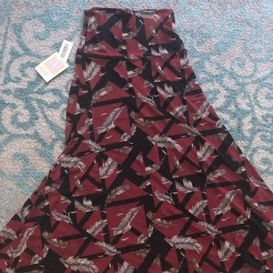 LLR XS burgundy maxi with feathers NWT
